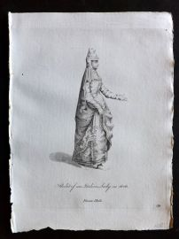 Jefferys 1772 Costume Print. Habit of an Italian Lady in 1626 Italy